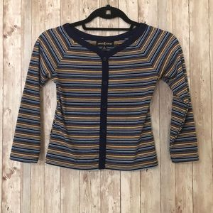 Blue and Yellow Striped Crop Top